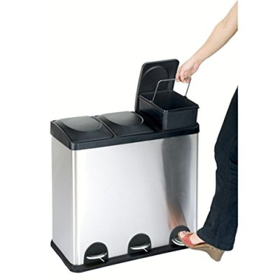 The Step N' Sort 16-Gal. 3-Compartment Stainless Steel Trash