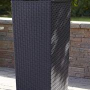 30 Gallon Wicker Trash Can with Lid, All Weather Tall Resin Plastic Garbage Can