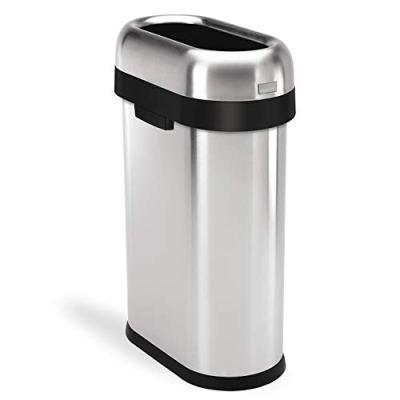 simplehuman 50 Liter / 13.2 Gallon Slim Open Top Trash Can Commercial Grade
