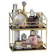 2Layer Stackable Glass Perfume Tray/2 Tirer Spacious Gold Black Mirror