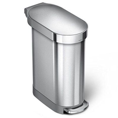 simplehuman 45 Liter / 12 Gallon Stainless Steel Slim Kitchen Step Can