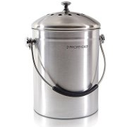 PriorityChef Compost Bin Stainless Steel with Soft Silicone Handle