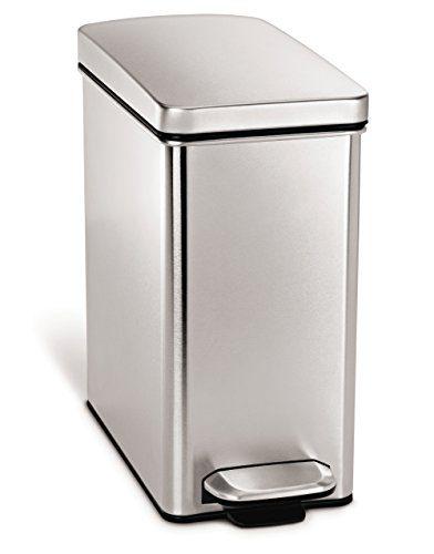 simplehuman 10 Liter / 2.6 Gallon Stainless Steel Bathroom Slim Profile Trash Can