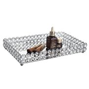 Feyarl Large Crystal Rectangle Mirrored Tray Cosmetic Vanity Tray