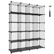 SONGMICS Wire Cube Storage, 20-Cube Modular Rack, Storage Shelves