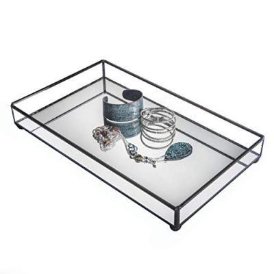 Mirrored Glass Tray Decorative Bathroom Vanity Cosmetic Makeup Organizer
