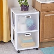 Sterilite Ultra 2 Drawer Cart, White Frame & Clear Textured Drawers