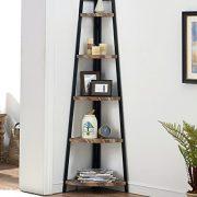 O&K FURNITURE 5 Shelf Industrial Corner Bookcase and Shelf