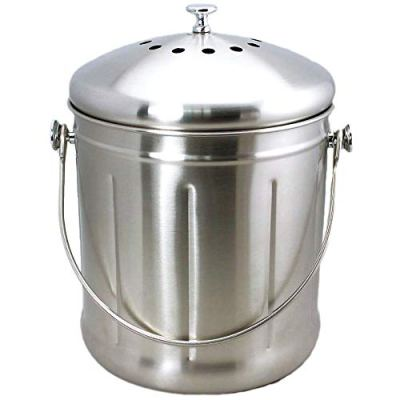 Natural Home Stainless Steel Compost Bin, 1.8-Gallon
