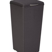 Keter Pacific 30 Gal. Outdoor Resin Wicker Waste Basket Trash Can