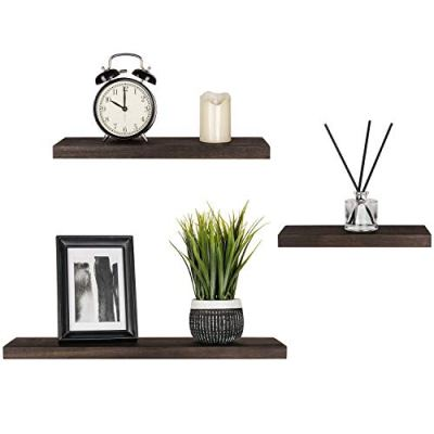 Mkono Floating Shelves Wood Wall Shelf Rustic Wall Mount Pine Shelf Set