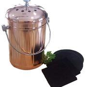 Kitchen Compost Bin Indoor Countertop - Copper Coated Stainless Steel