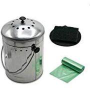 Indoor Kitchen Steel Compost Bin With Charcoal Filters & Bonus Liners