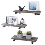MyGift Urban Rustic Wall-Mounted Torched Wood Floating Shelves