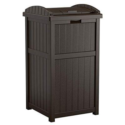 Suncast Trash Hideaway Outdoor Patio 33 Gallon Garbage Waste Trash Can Bin