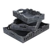 Rustic Wood Tray set of 3 nesting gray
