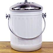 Indoor Kitchen Stainless Steel Compost Bin - White