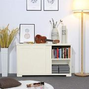 Yaheetech Antique White Sliding Door Buffet Sideboard Stackable Cabinets
