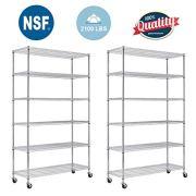 FDW 82 x48 x18 inch 6 Tier Layer Shelf Adjustable Wire Metal Shelving Rack