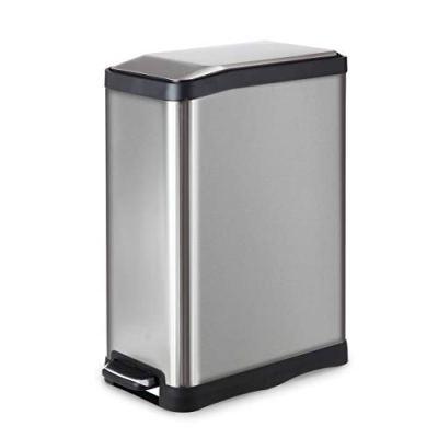 HomeZone 45-Liter/ 12 Gallon Stainless Steel Rectangular Step Kitchen Trash Can