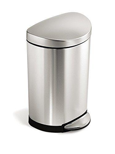 simplehuman 10 Liter / 2.3 Gallon Stainless Steel Small Semi-Round Bathroom Step