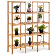 COSTWAY Bamboo Utility Shelf Bathroom Rack Plant Display Stand