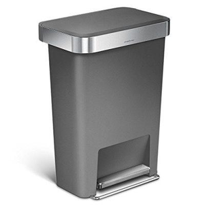simplehuman Rectangular Step Liner Pocket Trash Can, 45 Liter