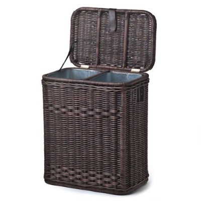The Basket Lady Divided Wicker Recycling Basket with Removable Metal Liner
