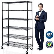 6 Tier Adjustable Wire Shelving Unit w/Casters