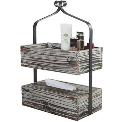 MyGift Rustic Torched Wood Shelf Rack, 2 Tier Counter-Top Organizer