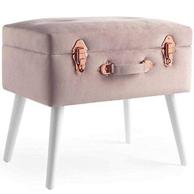 Beautify Pearlized Pink Velvet Storage Stool Trunk Organizer