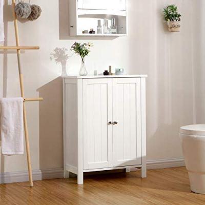 VASAGLE Bathroom Floor Storage Cabinet with Double Door Adjustable Shelf