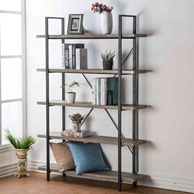 HSH Furniture 5-Shelf Vintage Industrial Rustic Bookshelf