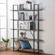 HSH Furniture 5-Shelf Vintage Industrial Rustic Bookshelf