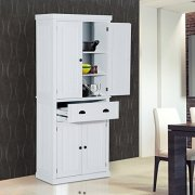 """HOMCOM 72"""" Traditional Colonial Standing Kitchen Pantry Cupboard Cabinet"""