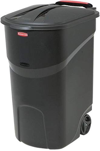 Taltintoo20 Black Wheeled Trash Can with Lid Opens to Either 80 Degrees Size