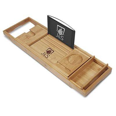 J & S Premium Bamboo Bathtub Caddy Tray - Bamboo Wooden
