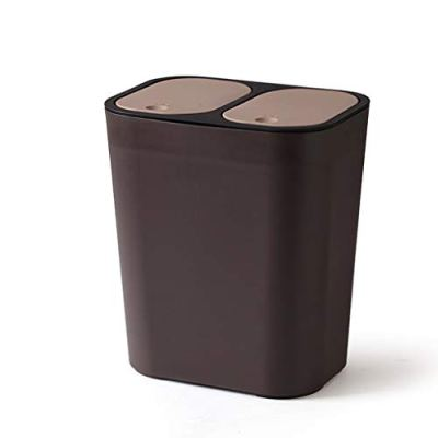 LXQG Double Waste Recycling Bin Press Trash Can Cover Garbage
