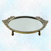 Vintage Gold Tone Vanity Mirror Tray with Oval Beautiful Asian Design