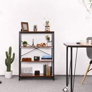 3-Shelf Industrial Bookshelf, Wood and Metal Bookcase