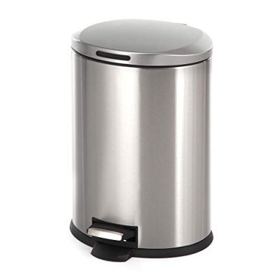 Home Zone Stainless Steel Kitchen Trash Can with Oval Design and Step Pedal