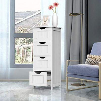 Yaheetech Bathroom Floor Cabinet, Wooden Side Storage Organizer
