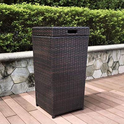Large Brown Wicker Waste Basket with Lid Wastebasket Poolside Garbage