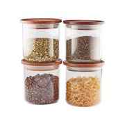 Essos Glass Jars with Wood Lids Set 4 of 22oz Airtight and Stackable Storage