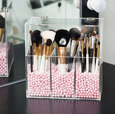 Newslly Clear Acrylic Makeup Organizer with 3 Brush Holder Compartment