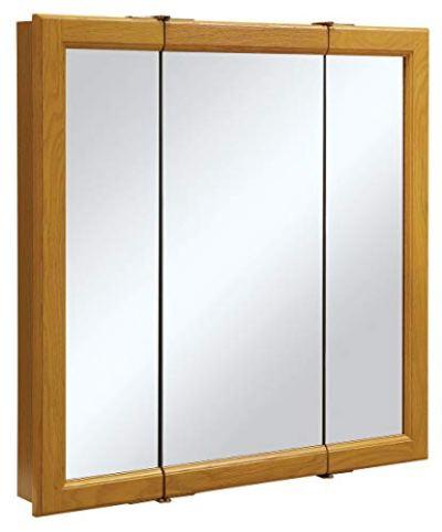 Design House Claremont Honey Oak Tri-View Medicine Cabinet Mirror
