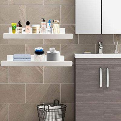 White Heavy Duty Floating Shelves - 15 Inches Acrylic Bathroom Shelf Sets