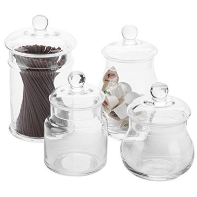 MyGift Set of 4 Clear Glass Apothecary Jars