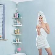 H&A Tension Shower Caddy Pole, Bathroom Corner Shower Rack