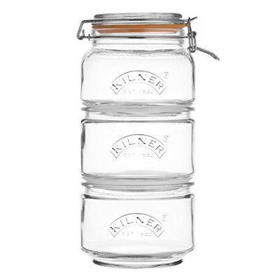 Kilner Stackable Storage Glass Jar Set, 1 Clip-Top and 2 Push-Top